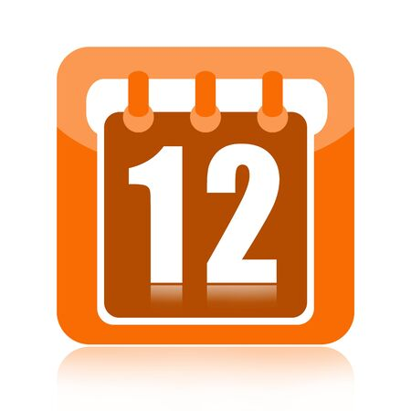number 12: Calendar icon isolated on white background Stock Photo