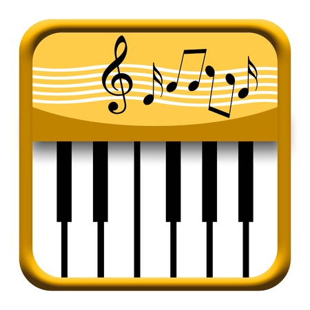 Golden piano keys icon with musical notes isolated on white background Foto de archivo