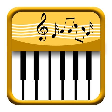 pianista: Teclas de piano icono de oro con las notas musicales aisladas sobre fondo blanco