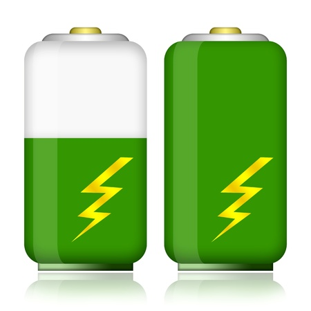 Green energy battery with charge energy level isolated on white background photo
