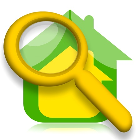 House under magnifying glass illustration over white background Stock Photo