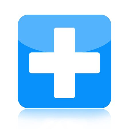 reanimation: First aid medical button isolated on white background  Stock Photo