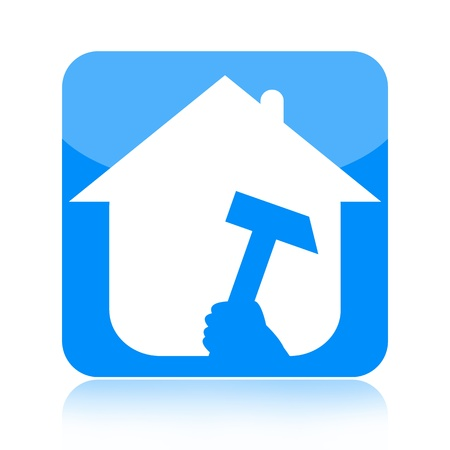 under construction sign with man: Home building and renovation icon with house and hammer isolated on white