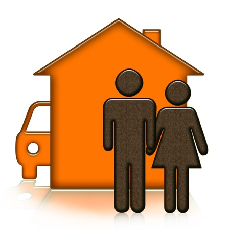 House, people and car over white background Stock Photo - 16794724