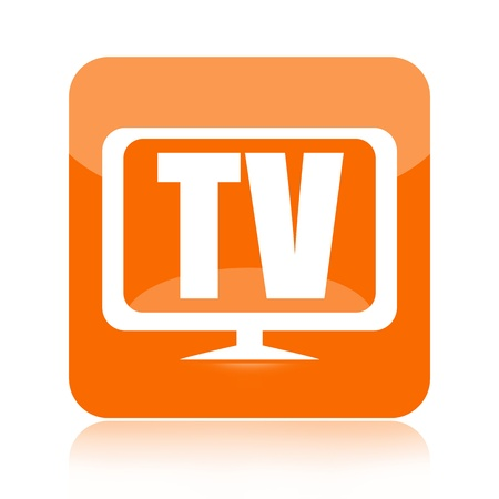 cable tv: Television icon isolated on white background