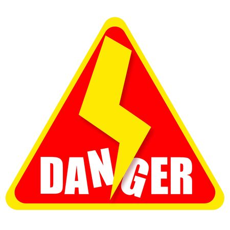 risky situation: Danger sign isolated on white background Stock Photo