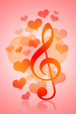 Love and Music, Valentines Day background with hearts and musical symbol photo