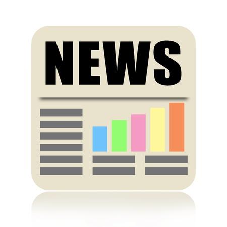 icone news: Ic�ne de journal avec des nouvelles affaires isol� sur fond blanc