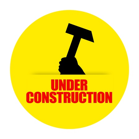 debugging: Under construction sign isolated on white background
