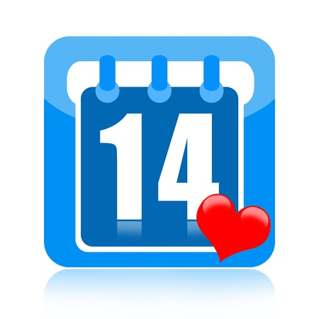 special events: Valentines Day on calendar page with heart isolated on white background Stock Photo