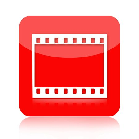 Movie or photographic film red media icon isolated on white background photo