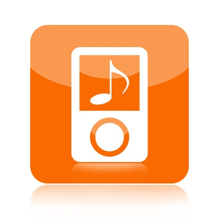 mp3 player: Mp3 player portable audio icon over white background