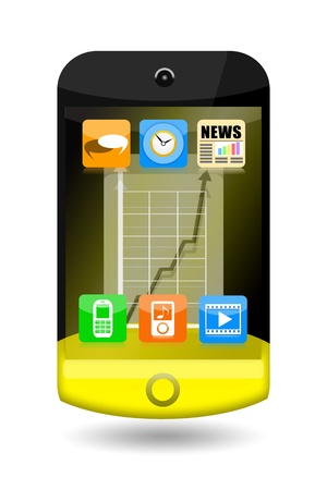 Creative smartphone with apps icons and upward arrow on the touch screen isolated on white background photo