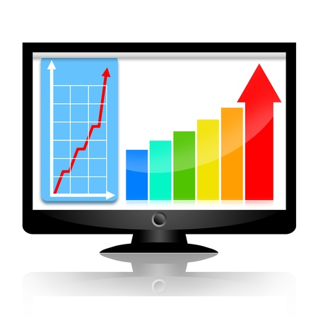 Successful business statistics on the monitor screen with increasing graph and upward arrows