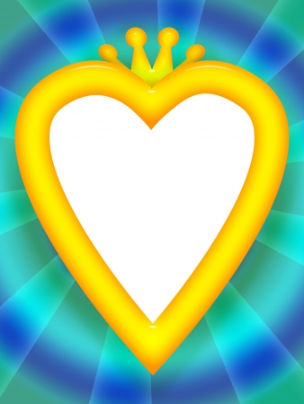 beauty queen: Heart frame with golden crown from fairy tale Stock Photo