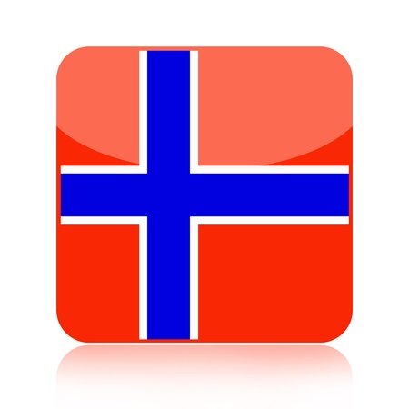 norwegian flag: Norwegian flag icon over white background