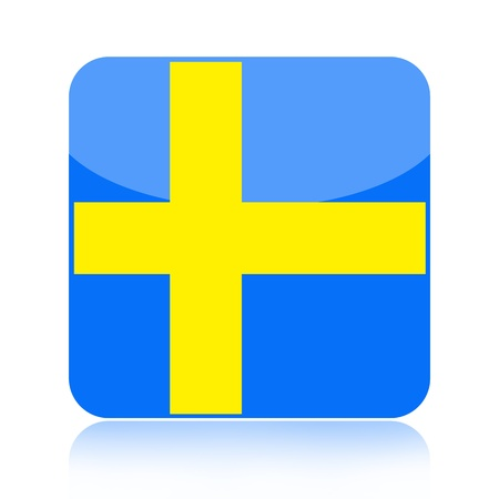 Swedish flag icon over white background photo