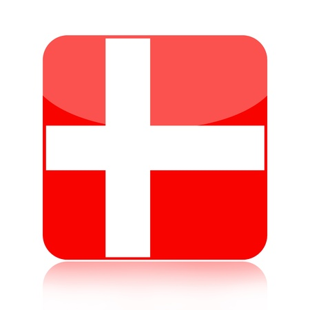 Danish glossy icon over white background photo