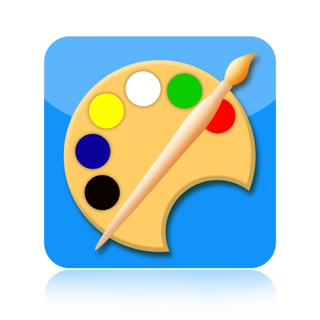Painting tools brush and palette icon Stock Photo - 17811266