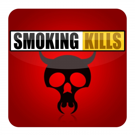 smoking kills: Smoking kills sign with black skull and cigarette isolated on white background