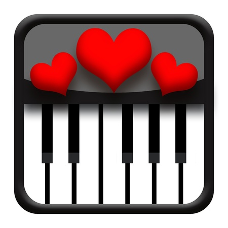Piano music and love hearts isolated on white background photo
