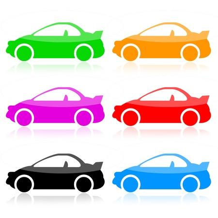 with orange and white body: Sport cars conjunto aislado sobre fondo blanco