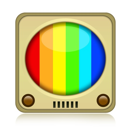 Vintage color tv icon isolated over white background photo