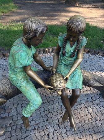 kharkov: Kids and turtle statue in Gorky park Kharkov Ukraine