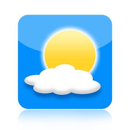 Weather icon with sun and cloud isolated on white background photo