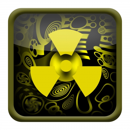 reaction: Radioactive button isolated on white background