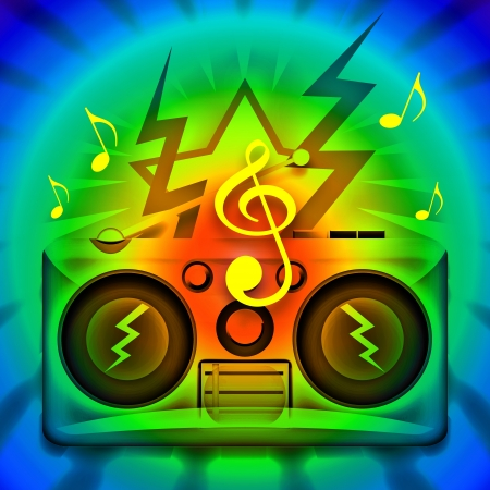 Music party illustration with loud boombox and explosive musical notes illustration