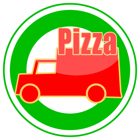Pizza delivery sticker isolated on white background photo