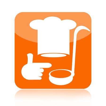 chapeau chef: Ic�ne de cuisson avec le chapeau de chef isol� sur fond blanc Banque d'images