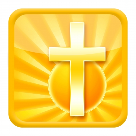 golden religious symbols: Christian icon with holy cross and rising sun isolated on white background