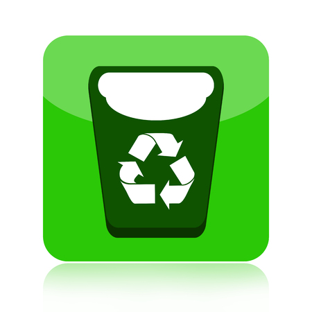 Recycle bin green icon  Stock fotó