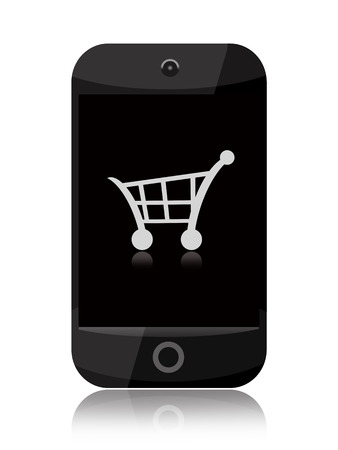 purchase icon: Online shopping, a smartphone with shopping cart isolated over white background Stock Photo