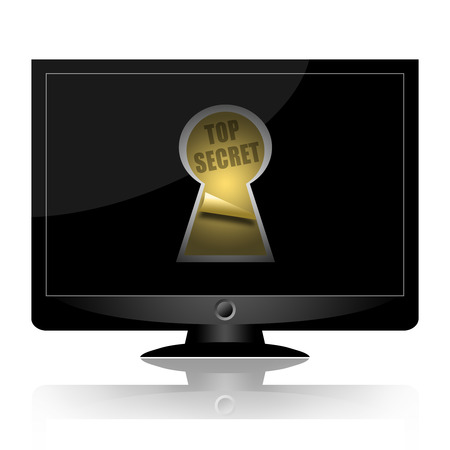 private access: Top secret documents in keyhole on computer monitor black screen isolated on white background