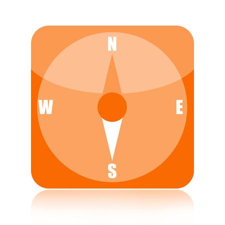 positioning: Compass orange glossy icon isolated on white background