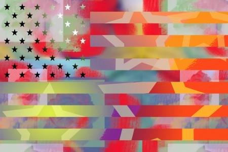 American flag graffiti styled