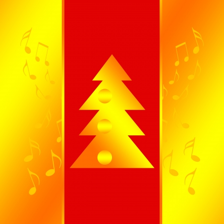 new years eve party: Christmas design with golden xmas tree and musical notes
