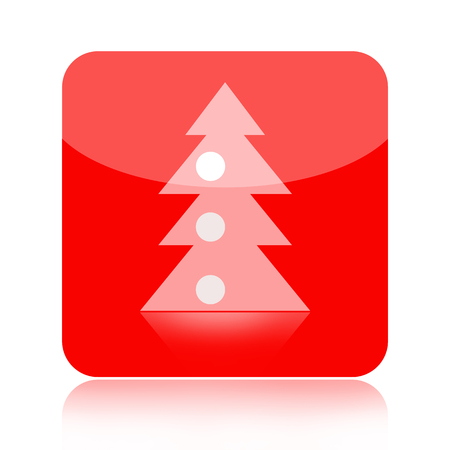 Christmas tree red icon isolated on white background photo