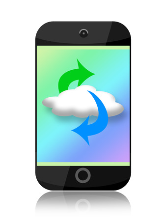 data synchronization: Smartphone and cloud computing on the screen isolated on white background