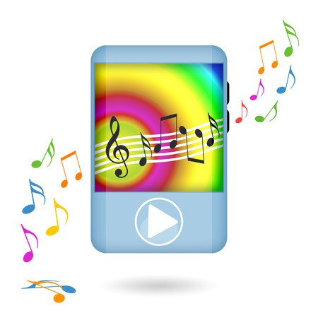 Dancing music player isolated on white background