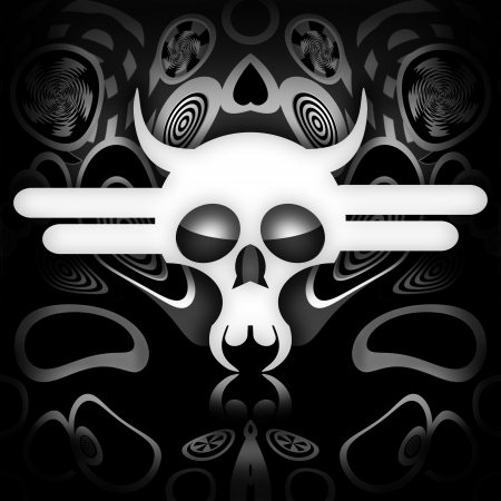 White death skull on black metal background photo