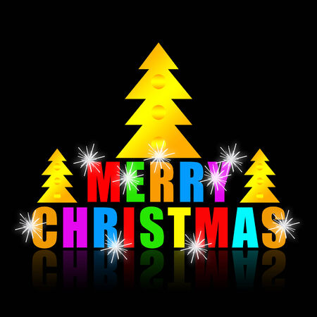 xmass: Merry Christmas greeting banner with xmas tree, colorful letters and bright sparks on black background