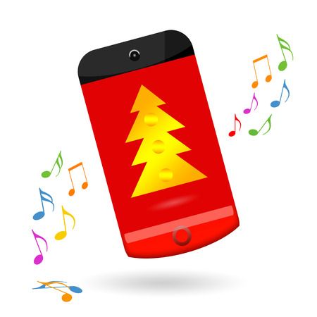 Happy smartphone celebrating Christmas sale photo