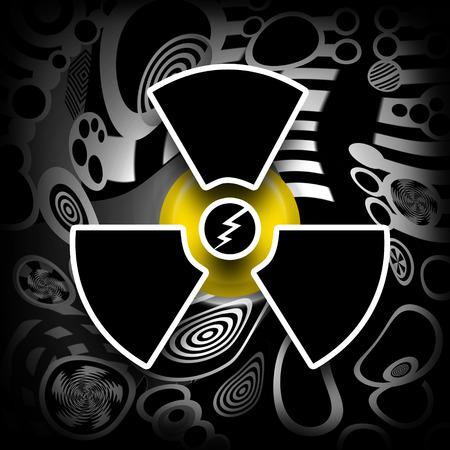 nuke plant: La energ�a nuclear, s�mbolo radiactivo contaminaci�n industrial en el fondo negro
