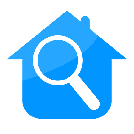 House and magnifying glass real estate sign isolated on white background Stock Photo