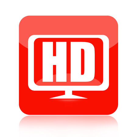 High definition video red icon with tv or computer monitor isolated on white background photo
