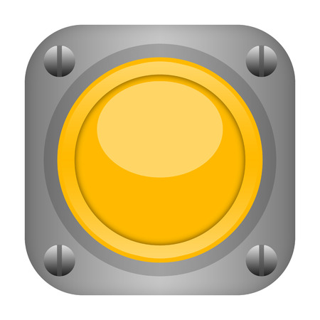 durable: Yellow technical durable metal button isolated on white background